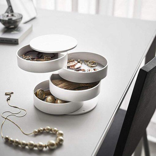 boite rangement bijoux ronde blanc
