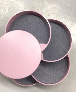 boite rangement bijoux ronde rose